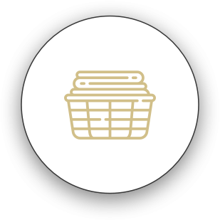 Laundry basket with folded clothes icon