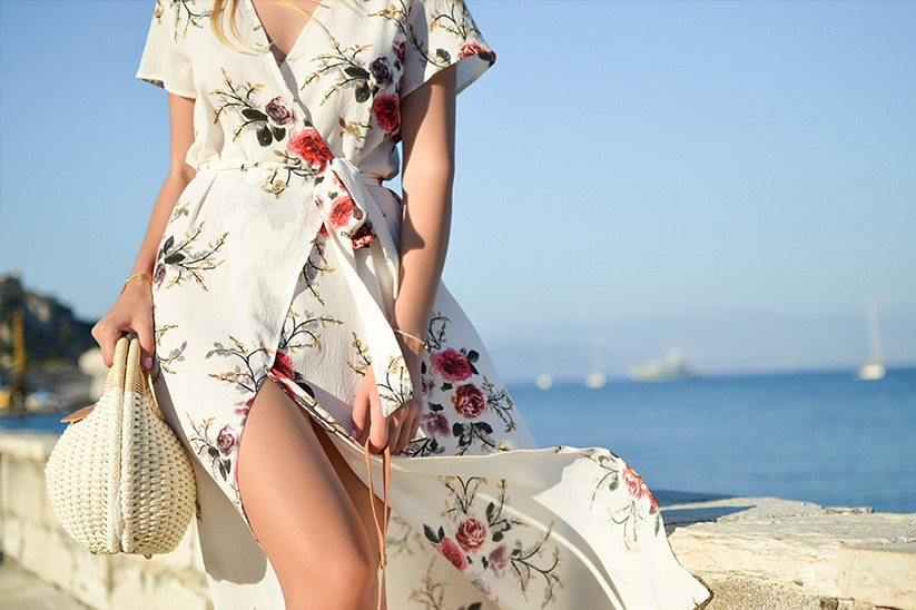 woman wearing a floral dress