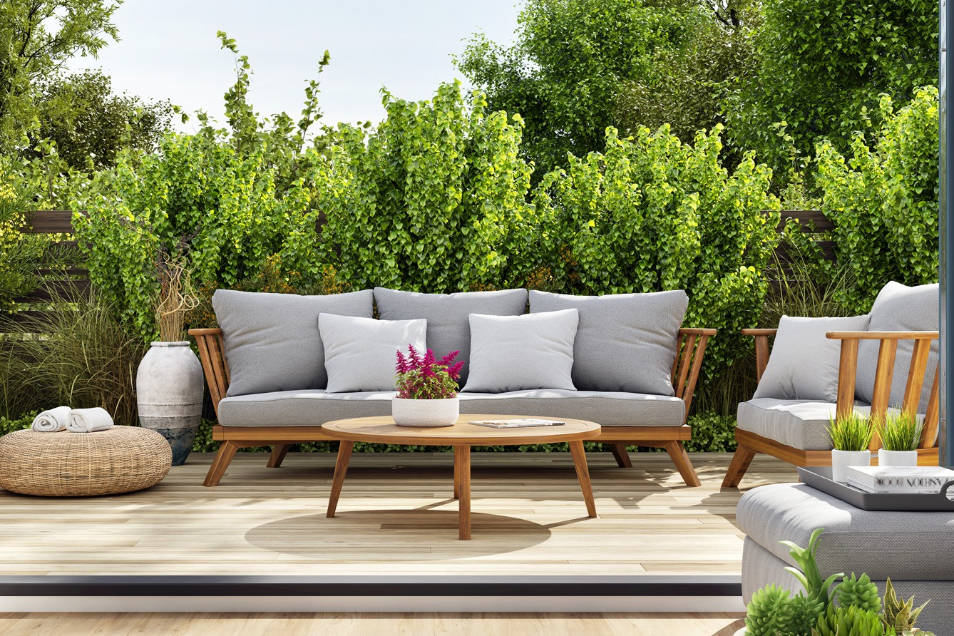 summer patio with white cushions